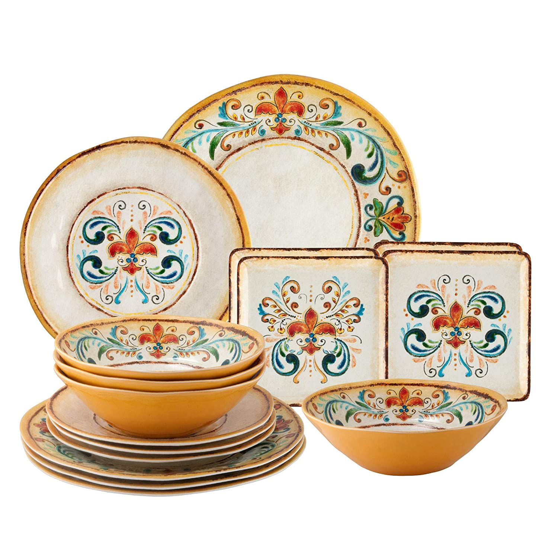 Gourmet Art 16-Piece Tuscany Melamine Dinnerware Set