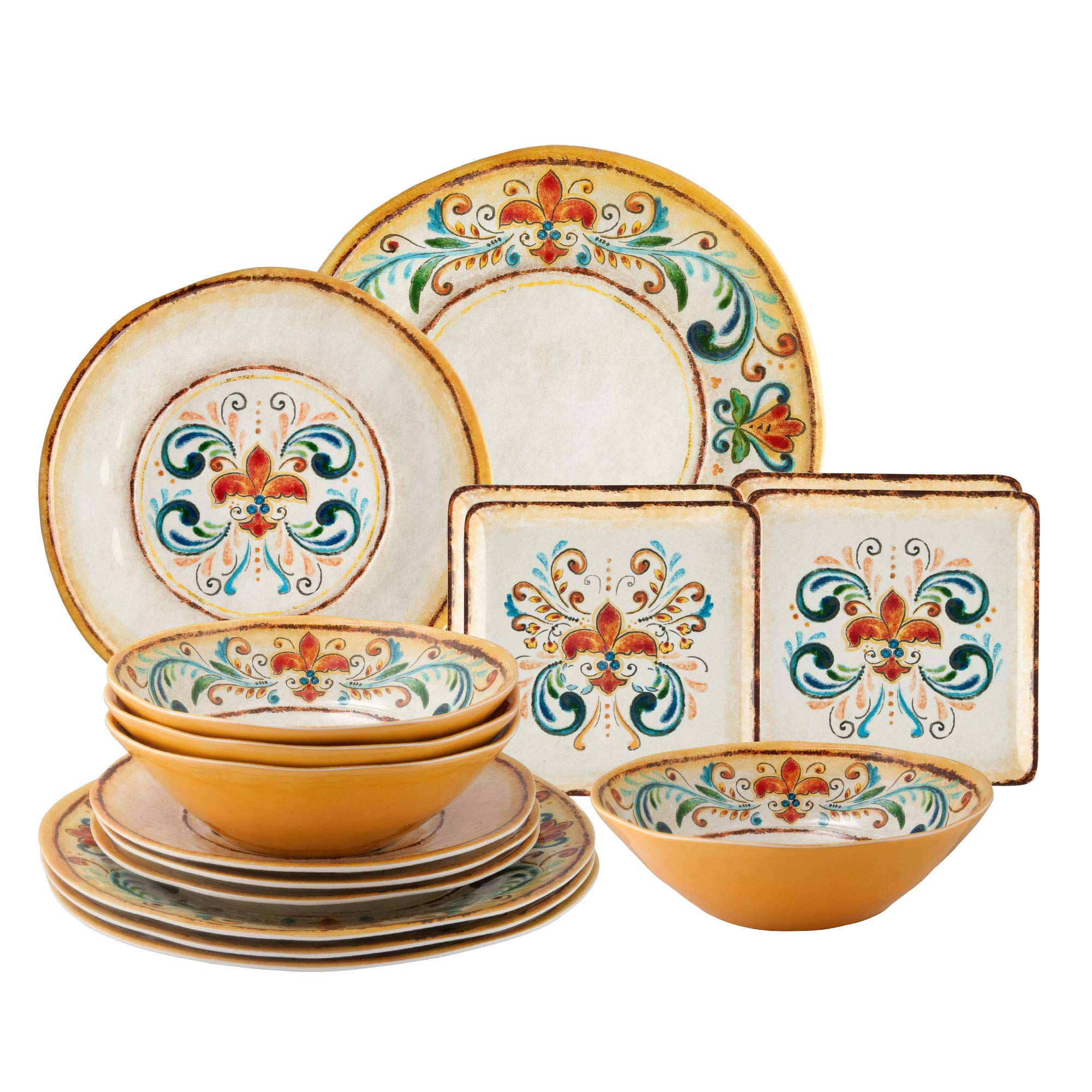 Gourmet Art 16-Piece Tuscany Melamine Dinnerware Set by Supreme Housewares