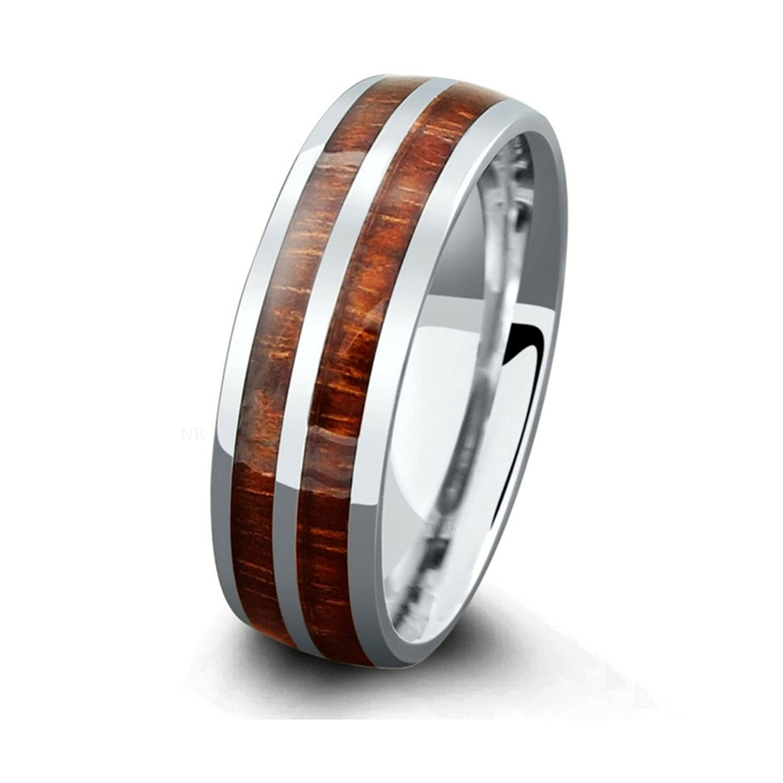 Wood Wedding Bands.Northern Royal 7mm Mens Titanium Wood Wedding Band With Genuine Koa Wood Inlay