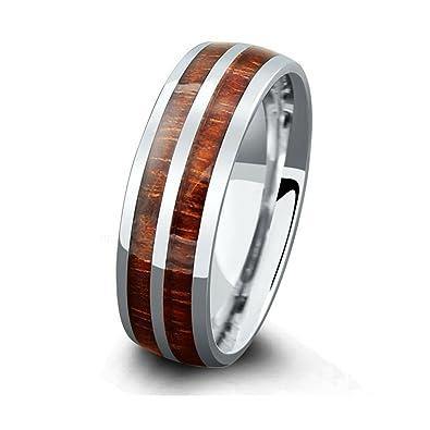 ceed0fbf34 Northern Royal 7mm Mens Titanium Wood Wedding Band with Genuine Koa Wood  Inlay (11.5)