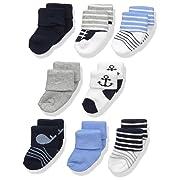 Luvable Friends Baby 8 Pack Newborn Socks, Nautical, 6-12 Months