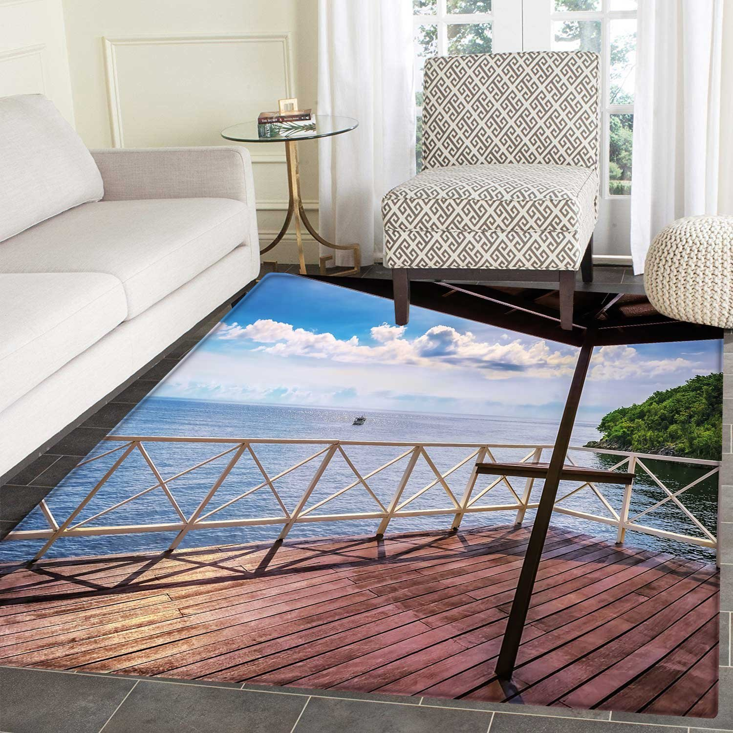Modern area rug carpet balcony porch sea ocean view in trinidad and tobago island tropic photo image art living dinning room and bedroom rugs 3x4