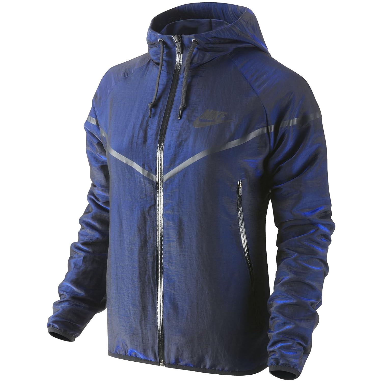Nike Windrunner Women s Tech Woven Jacket (Large) Blue Black  Amazon.co.uk   Clothing e8b6f68689