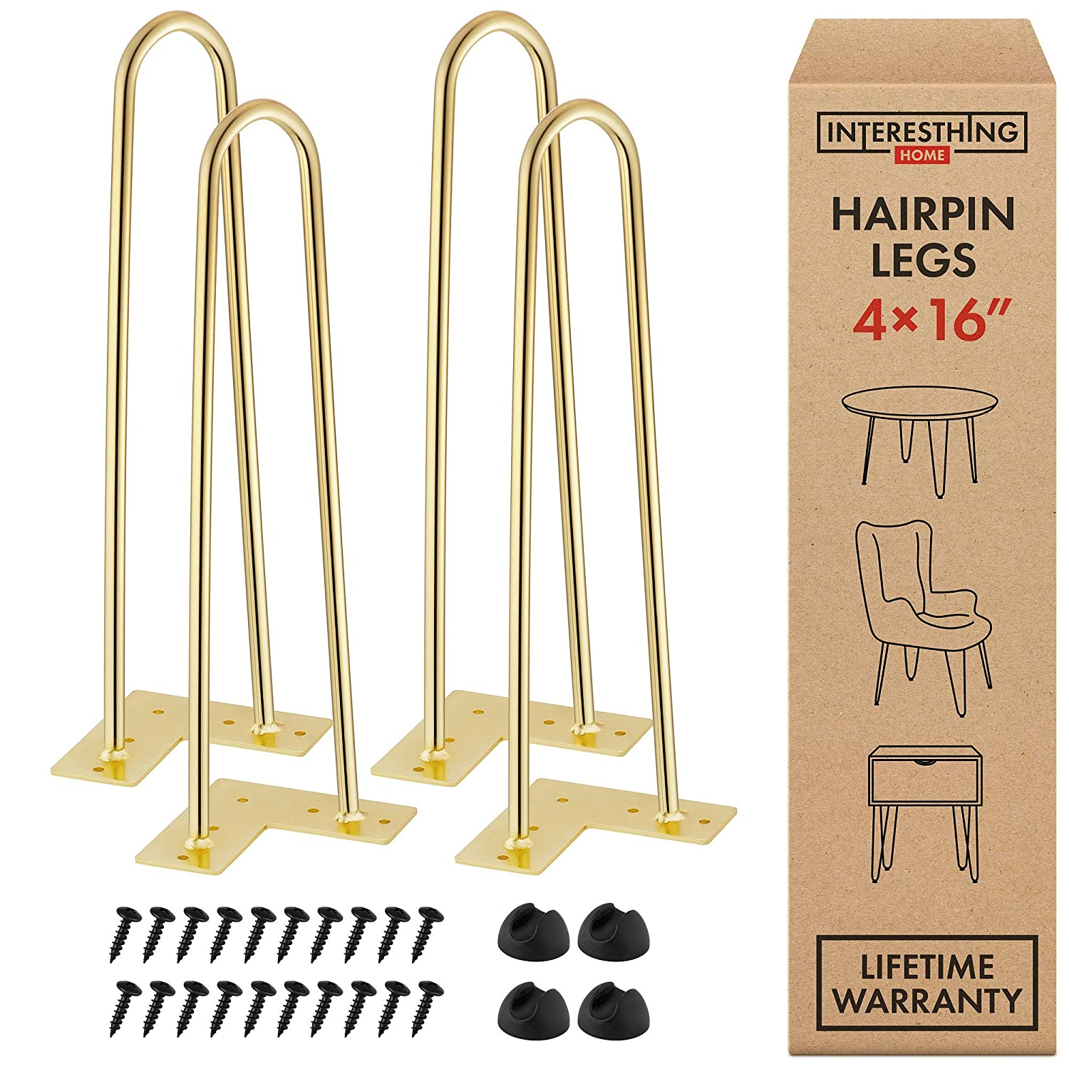 Interesthing Home Hairpin Legs for Coffee and End Tables, Chairs and Rubber Floor Protectors, 16 Inches, Gold