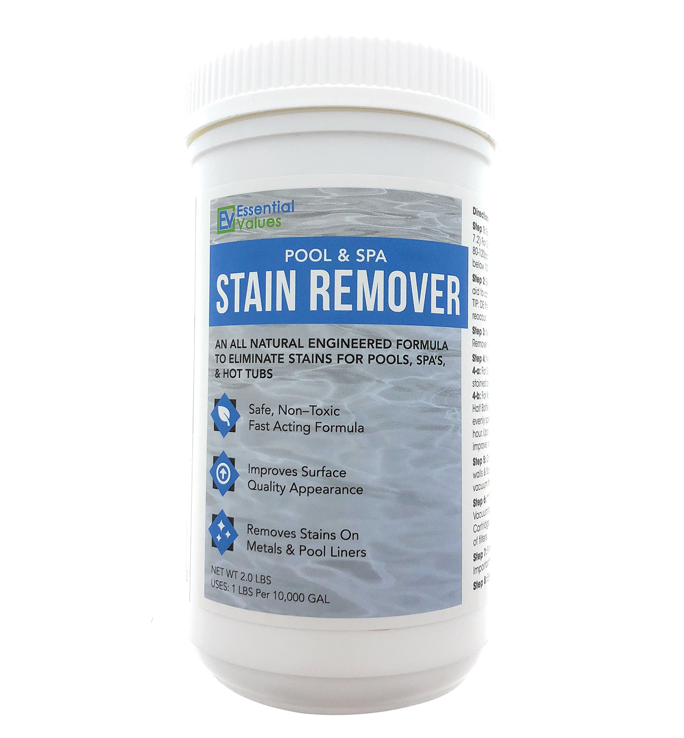 Essential Values Swimming Pool & Spa Stain Remover (2 LBS) - Natural & Safe, Works Best for Vinyl Liners, Fiberglass, Metals - Removes Rust & Other Tough Stains Without The Use of Harsh Chemicals by Essential Values