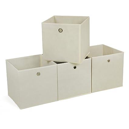 SONGMICS Juego de 4 Cajas de almacenaje Cubos de Tela Plegable 30 x 30 x 30