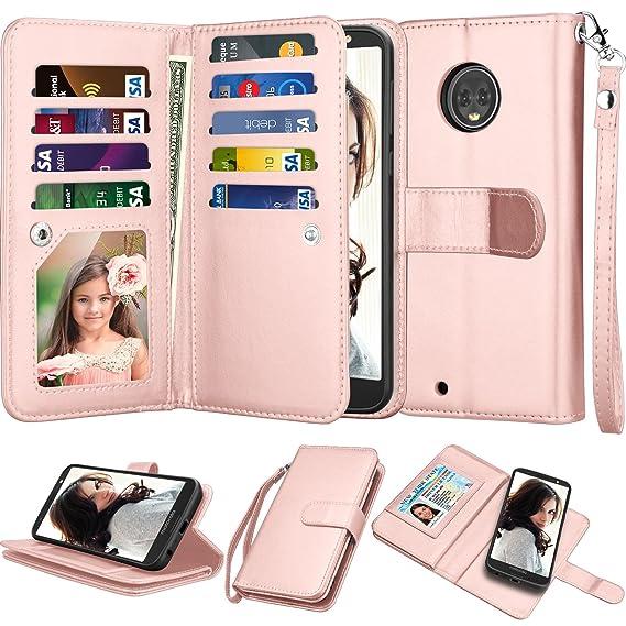 wholesale dealer b33fd bc596 Njjex For Mote G6 Wallet Case, For Motorola Moto G6 2018 Case, Luxury PU  Leather [9 Card Slots] ID Credit Folio Flip Cover [Detachable][Kickstand]  ...