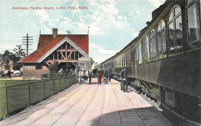 e702bb8a667 Amazon.com  Postcard Northern Pacific Railroad Depot in Little Falls ...