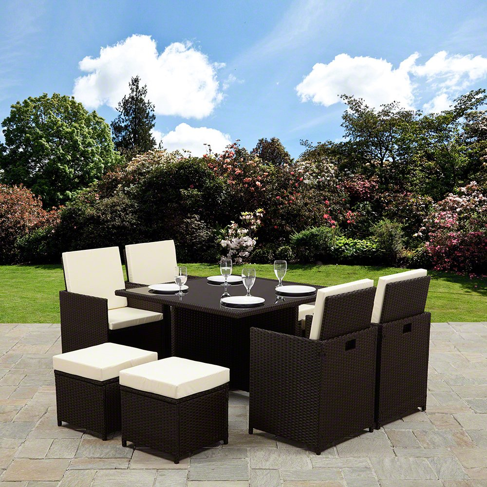rattan cube garden furniture set 8 seater outdoor wicker 9pcs no parasol hole brown