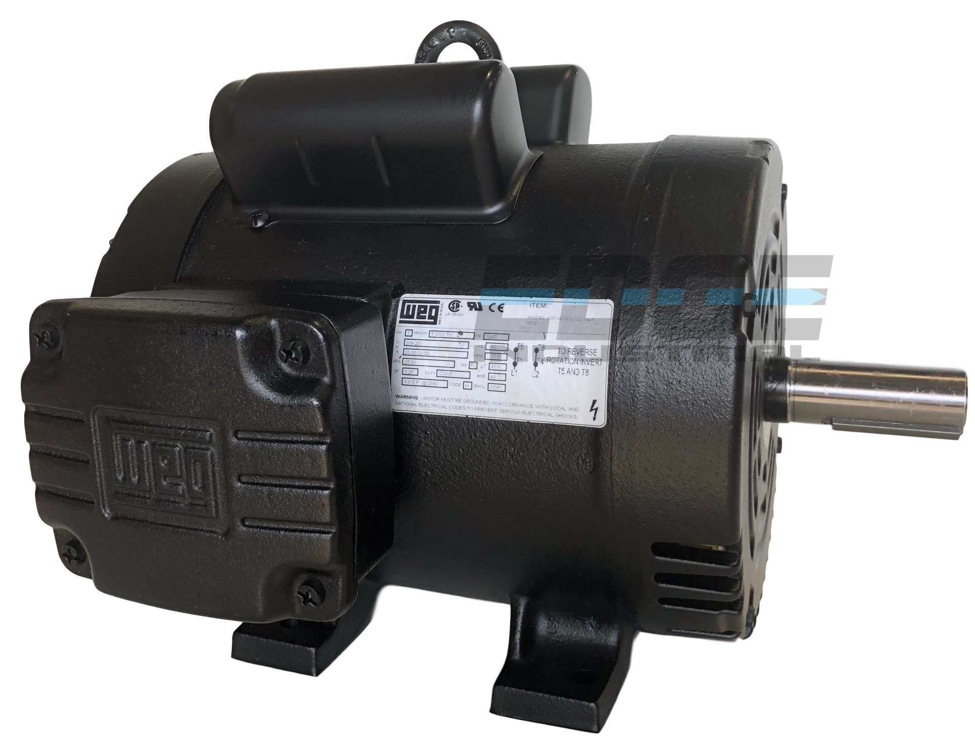 NEW 5HP 184T FRAME WEG ELECTRIC MOTOR FOR AIR COMPRESSOR 1750 RPM 230V 21.5 AMP product