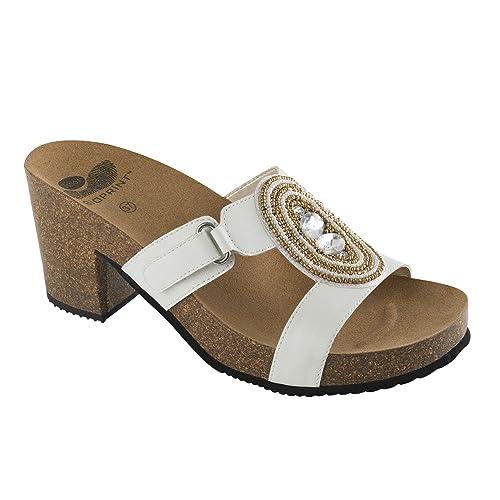 00f60015bd5 DR.Scholl - Sandalias de Vestir de Material Sintético para Mujer Blanco  Blanco 40  Amazon.es  Zapatos y complementos