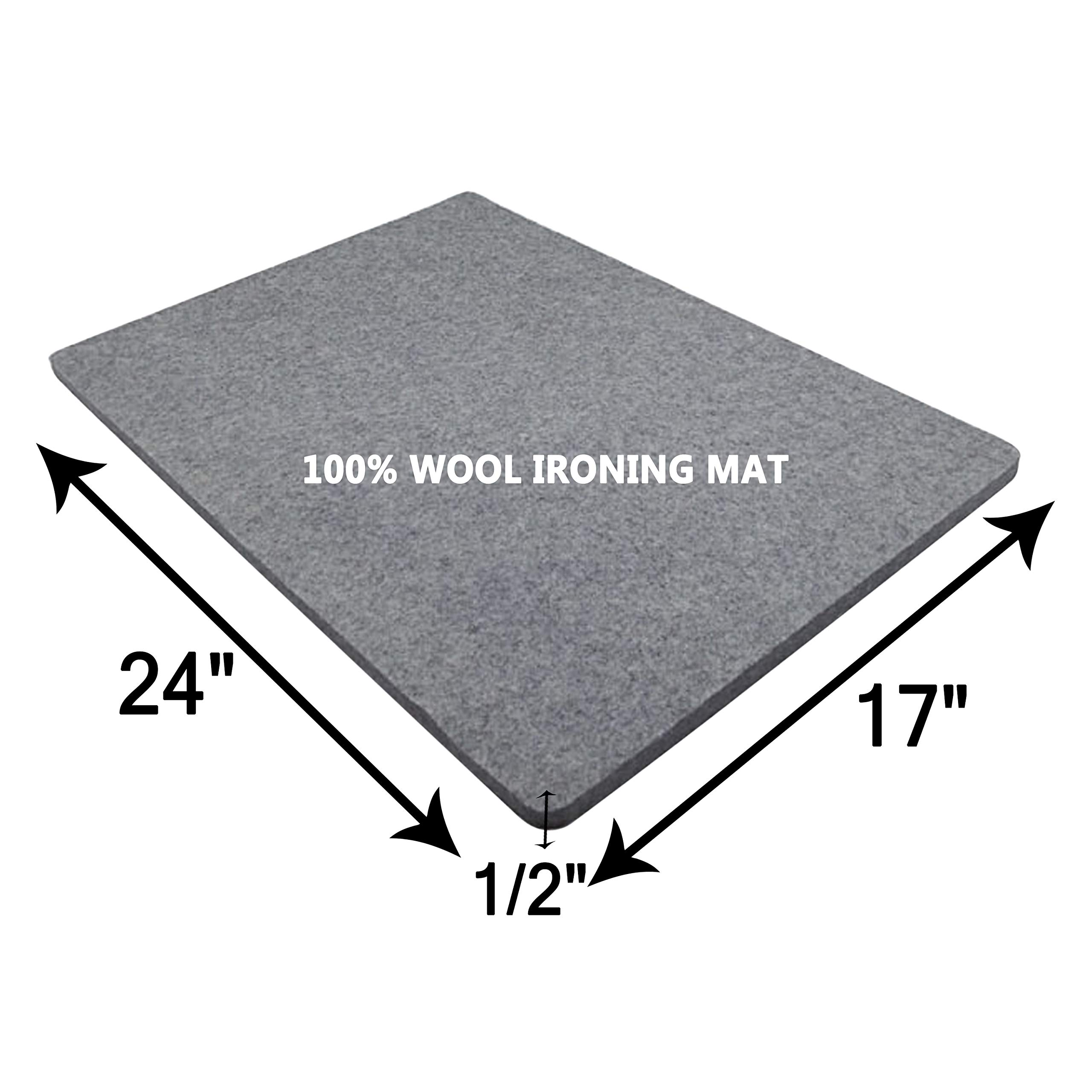 Wool Ironing Mat-Pad Made with 100% New Zealand Wool Pressing Pad Great for Traveling and Quilting Holds Heat When Pressing to Provide Professional Results Ironing Board Cover (Gray, 17x24)