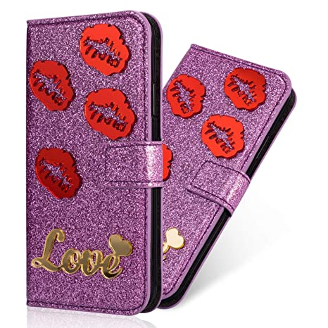 coque portefeuille iphone 8 rouge a levre
