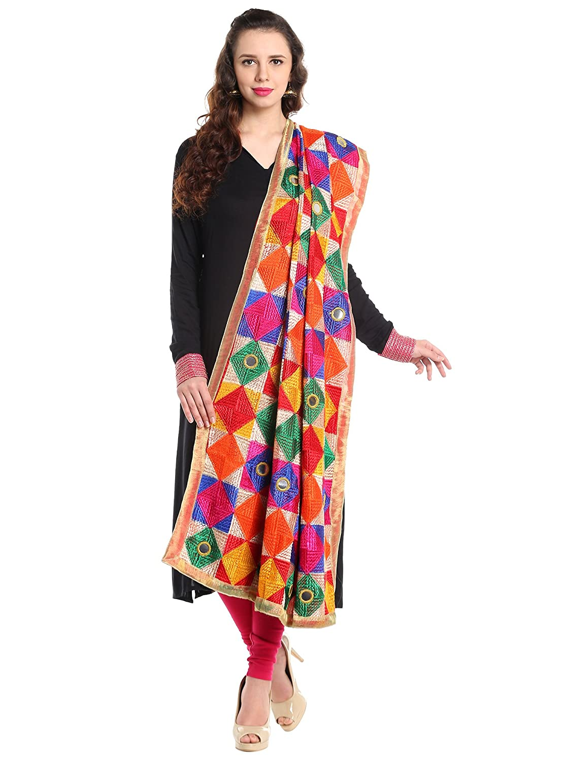 Dupatta Bazaar Woman's Multicoloured Phulkari Embroidered Chiffon Dupatta DB1314