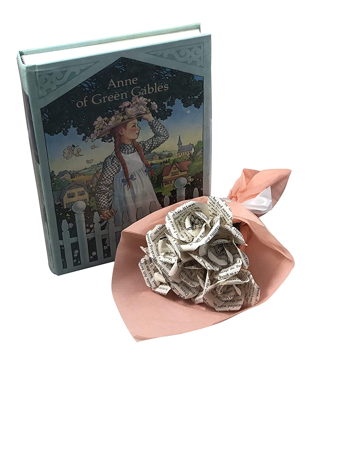 Petite Bouquet of Mini Roses Up-cycled Unique Romantic Gift for Book Lover or Bookworm Anne of Green Gables Book Page Flower