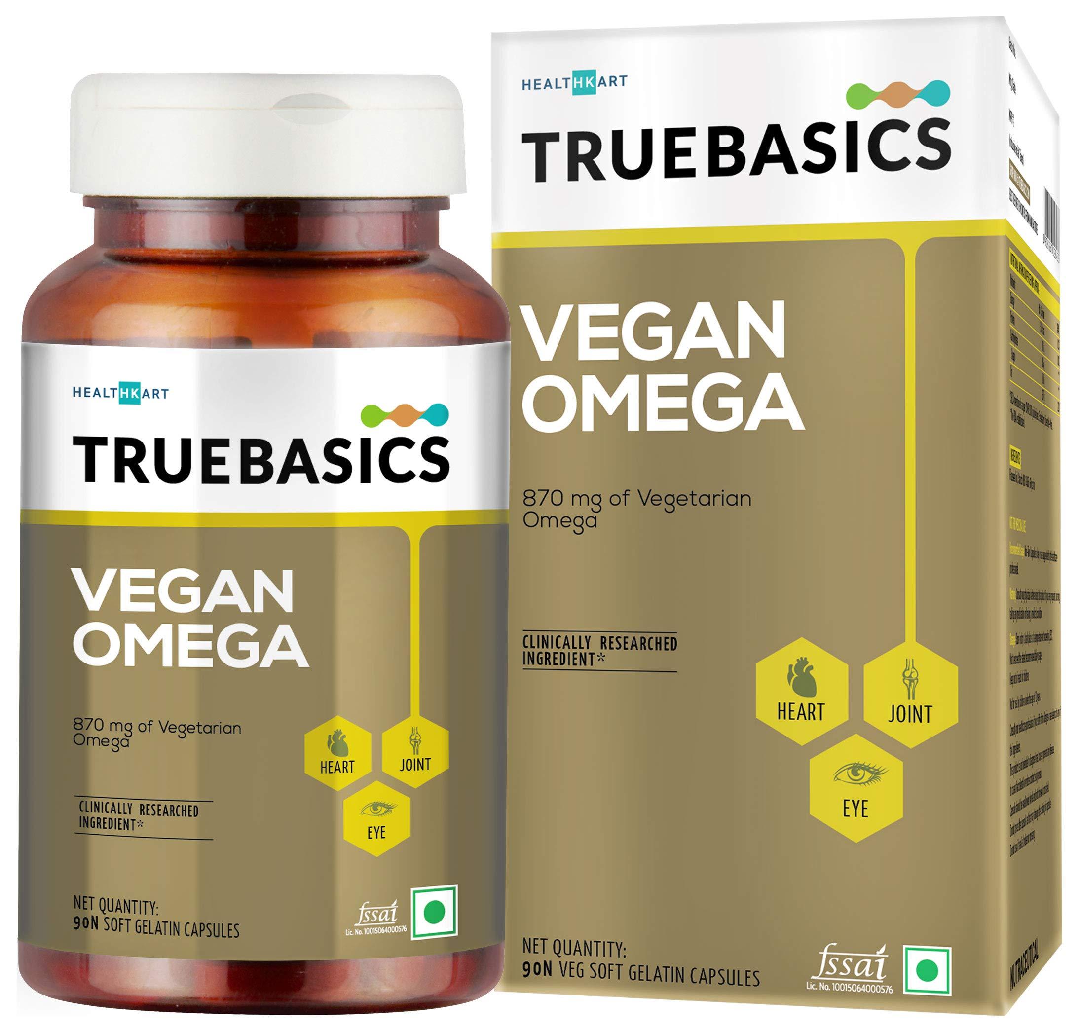 TrueBasics Vegan Omega, 870mg of Vegetarian Omega Fatty Acids, Nutrition Supplement for Heart, Hair, Skin, Joint, Brain & Eye Health, Clinically Researched - 90 Vegetarian Softgels