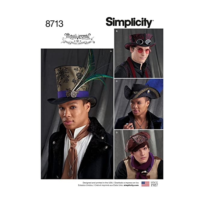 Steampunk Sewing Patterns- Dresses, Coats, Plus Sizes, Men's Patterns Mens Hats in Three Sizes Accessories Simplicity Creative Patterns US8713A  $9.95 AT vintagedancer.com