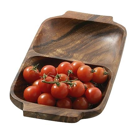 Premier Housewares - Bandeja o fuente rectangular para aperitivos con asas (madera de acacia,