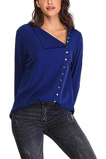 Aranmei Blusa Mujer Chiffon Camisa De Manga Larga Camisas Elegante Otoño Anchos Cómodo Cuello V(