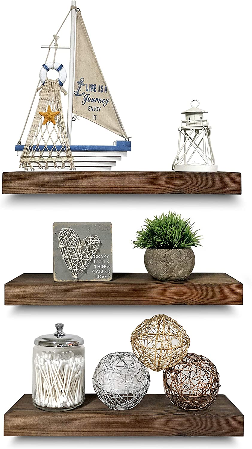 """Rustic Farmhouse 3 Tier Floating Wood Shelf - Real Hardwood Floating Wall Shelves (Set of 3), Hardware and Fasteners Included (Walnut, 16"""")"""