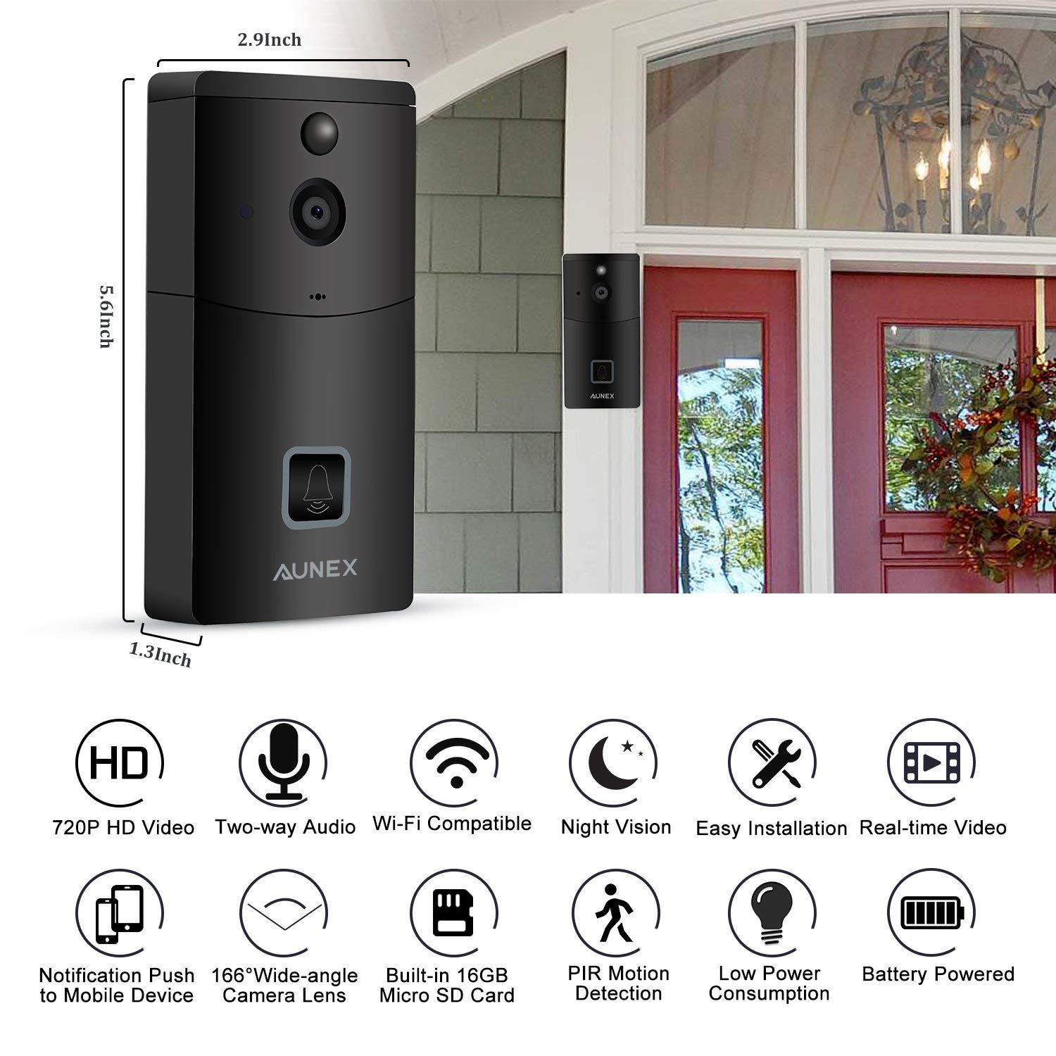 Video Doorbell, WIFI Wireless Video Doorbell Camera 720P HD Security Camera PIR Motion Detection Night Vision Real-Time Video Two-Way Audio Wide-angle for IOS and Android Built-in 16GB SD Card(Black)