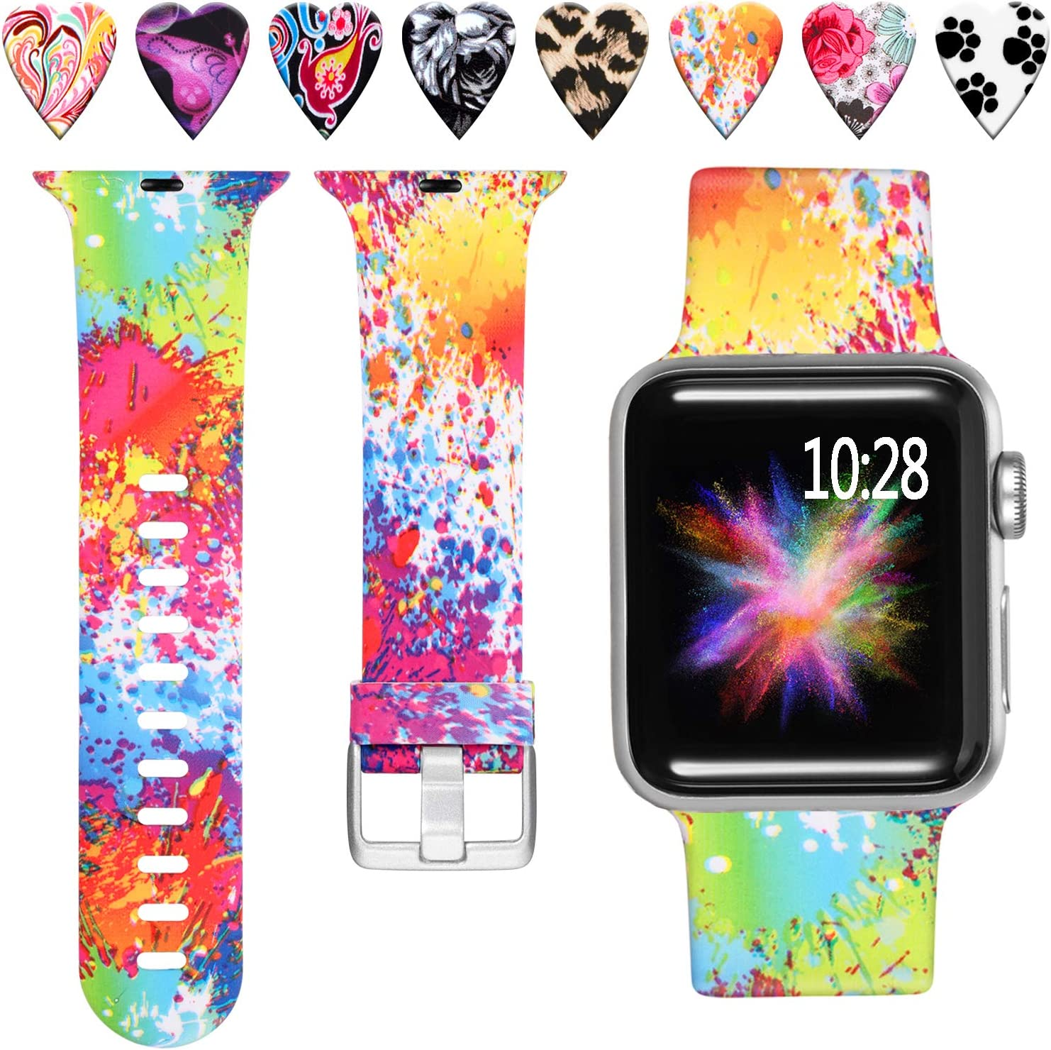 Laffav Compatible with Apple Watch Band 40mm 38mm, Soft Replacement Pattern Wristband for iWatch Apple Watch SE & Series 6, Series 5, Series 4, Series 3, Series 2, Series 1, Splash-ink, S/M