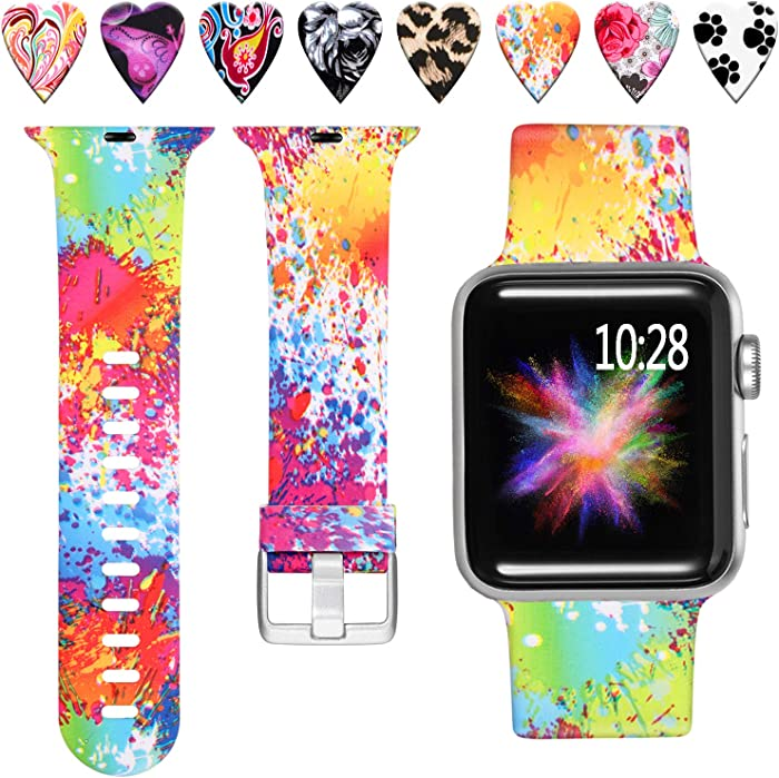 Laffav Compatible with Apple Watch Band 44mm 42mm, Soft Replacement Pattern Wristband for iWatch Apple Watch SE & Series 6, Series 5, Series 4, Series 3, Series 2, Series 1, Splash-ink, S/M