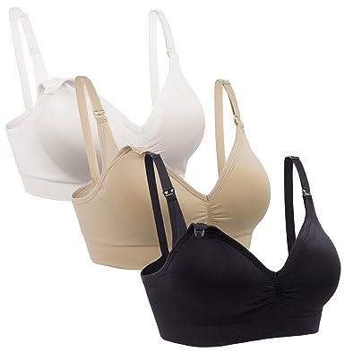 25760b22a MIRITY Womens Nursing Bras for Breastfeeding Seamless Wirefree Maternity  Wear Bra Color Black Beige White Size