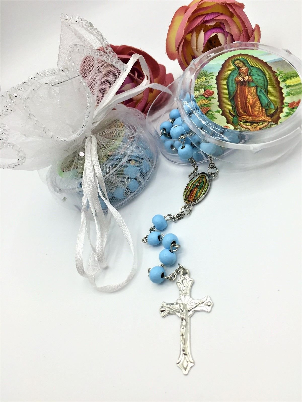 12 pcs OUR VIRGEN DE GUADALUPE BLUE- WOOD ROSARY baptims/firts communion Favors boy/girl Recuerdos de primera Communion