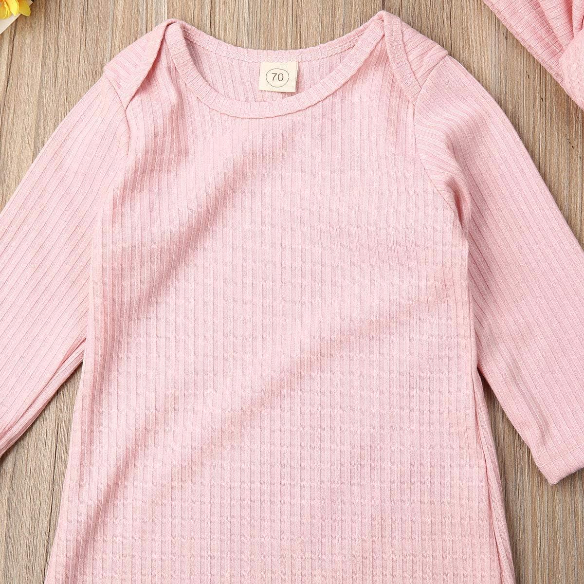 Newborn Baby Boy Girl Sleeper Gown Long Sleeve Floral Infant Sleepwear Romper Nightgowns Pajamas Set