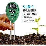 Soil pH Meter, 3-in-1 Soil Tester Moisture Meter, Light and PH acidity Tester, Plant Soil Tester Kit, Great For Garden, Farm, Lawn, Indoor & Outdoor (No Battery needed)