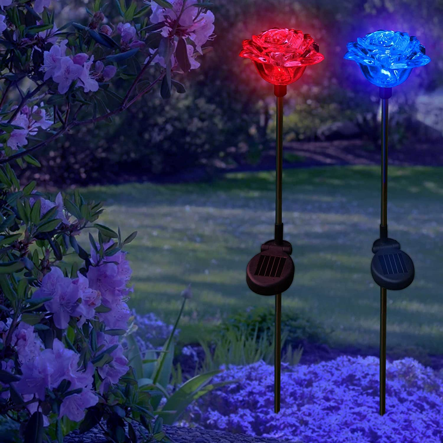 solar rose lights holiday outdoor decoration color