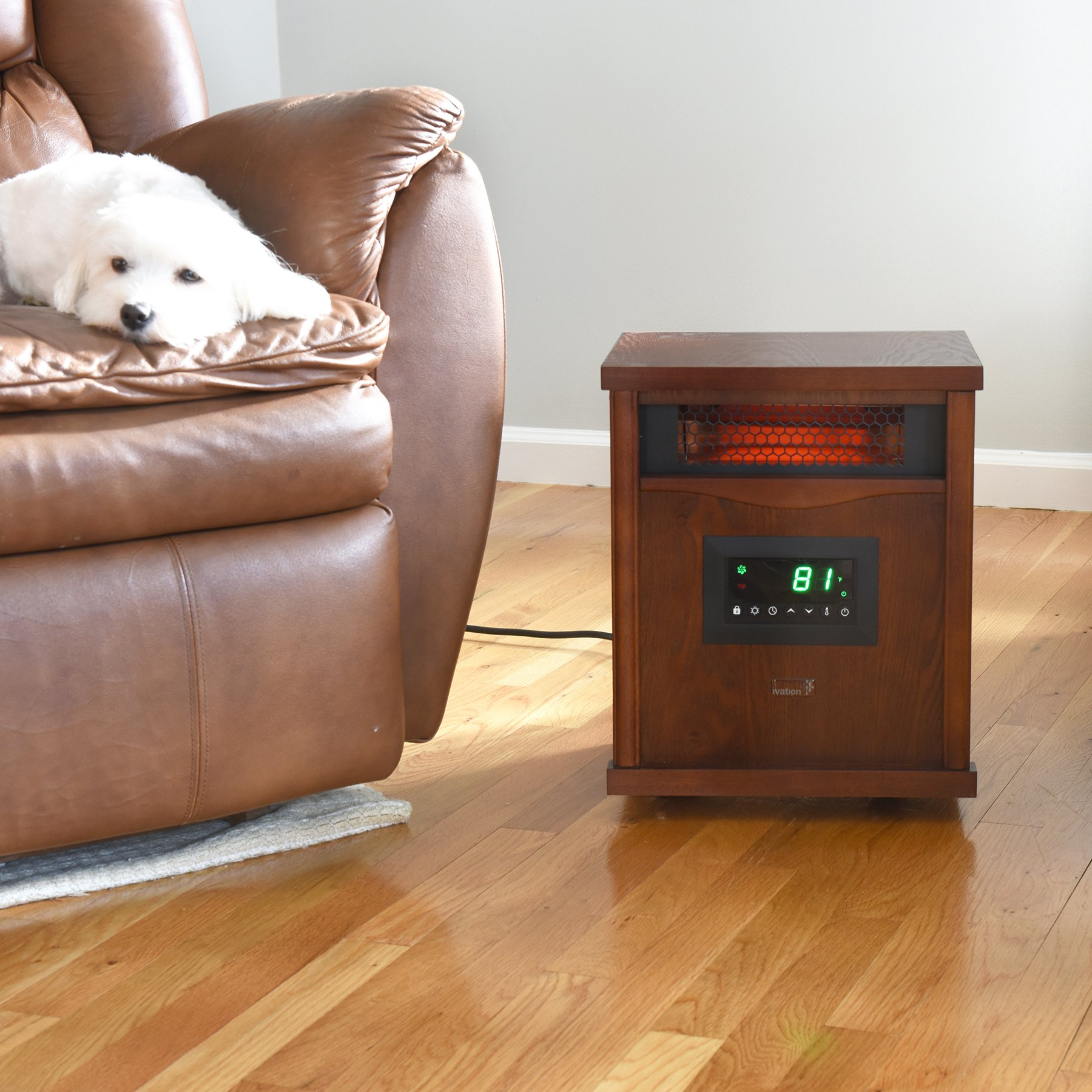 Ivation Portable Electric Space Heater, 1500-Watt 6-Element Infrared Quartz Mini Heater With Digital Thermostat, Remote Control, Timer & Filter by Ivation (Image #7)