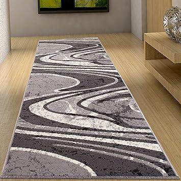 flur teppich laufer bracke muster modern wellen in grau fiesta kollektion 70 x 50 lang