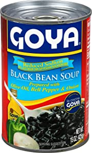 Goya Foods Reduced Sodium Black Bean Soup, 15 Ounce (Pack of 24)