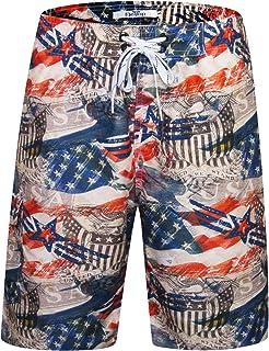52f02bcfdb ELETOP Men's Swim Trunks Quick Dry Board Shorts Beach Holiday Swimwear  Print Bathing Suits with Mesh