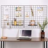 """Kufox Painted Wire Wall Grid Panel, Multifunction Photo Hanging Display and Wall Storage Organizer, Pack of 2 , Size:23.6""""x 23.6"""", Square Black"""