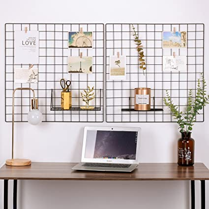 Kufox Painted Wire Wall Grid Panel, Multifunction Photo Hanging Display And Wall  Storage Organizer,