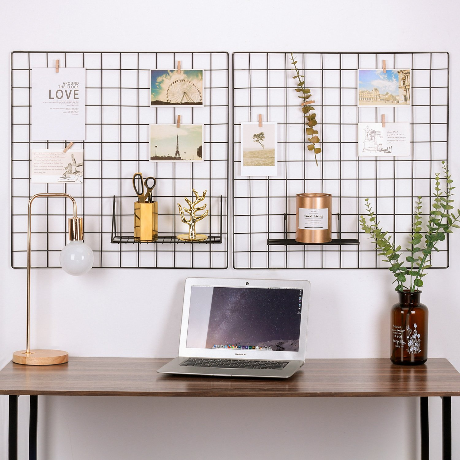 Kufox Painted Wire Wall Grid Panel, Multifunction Photo Hanging Display and Wall Storage Organizer, Pack of 2 , Size:23.6''x 23.6'', Square Black