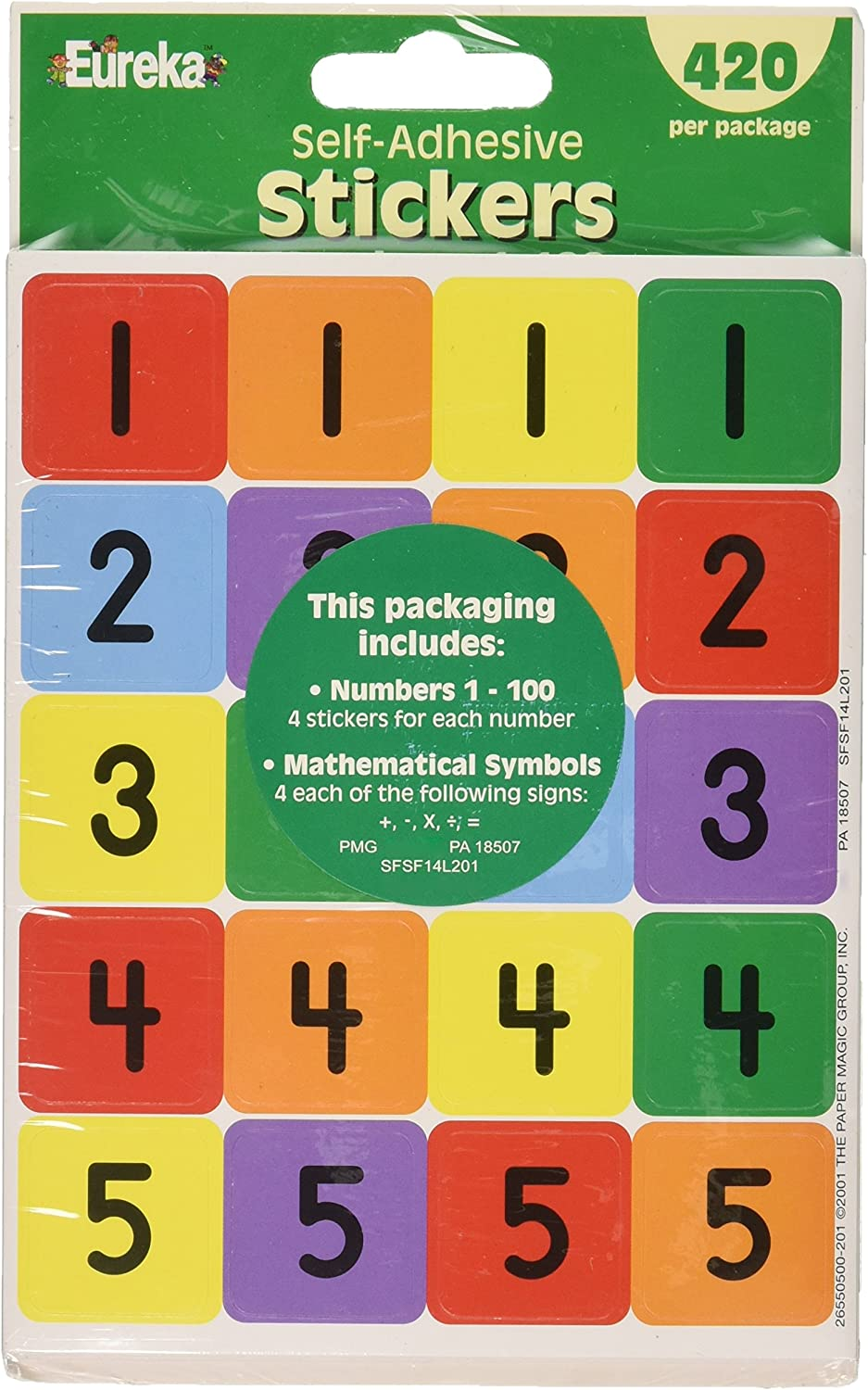 Eureka Classroom Supplies 1 to 100 Number Stickers for Kids, 420pc