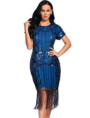 Roaring 20s Costumes- Flapper Costumes, Gangster Costumes Womens 1920s Vintage Inspired Sequin Fringe Gatsby Flapper Dress $35.69 AT vintagedancer.com