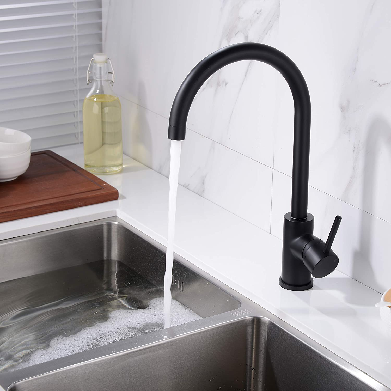 Trustmi Trustmi Trustmi - Grifo para fregadero de cocina de una palanca, de latón y caño giratorio e0e2e0