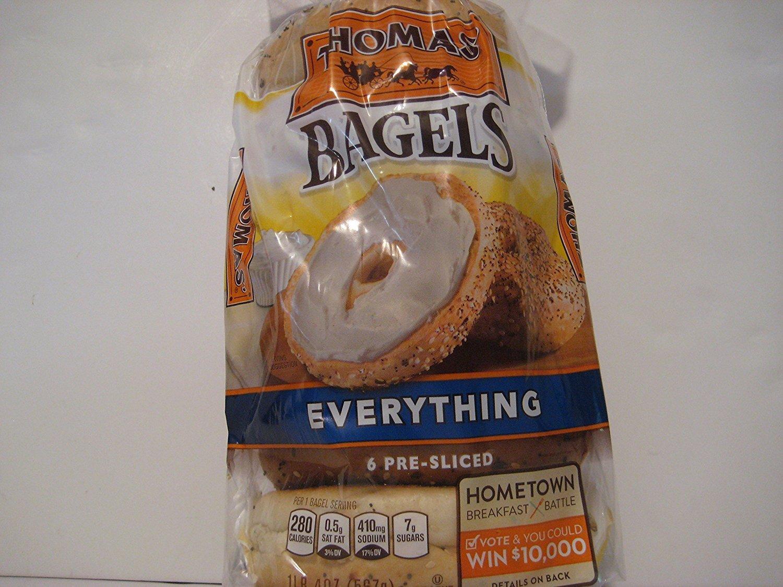 Thomas' Bagels Everything, (6)- Pre-sliced, 20oz Each Bag