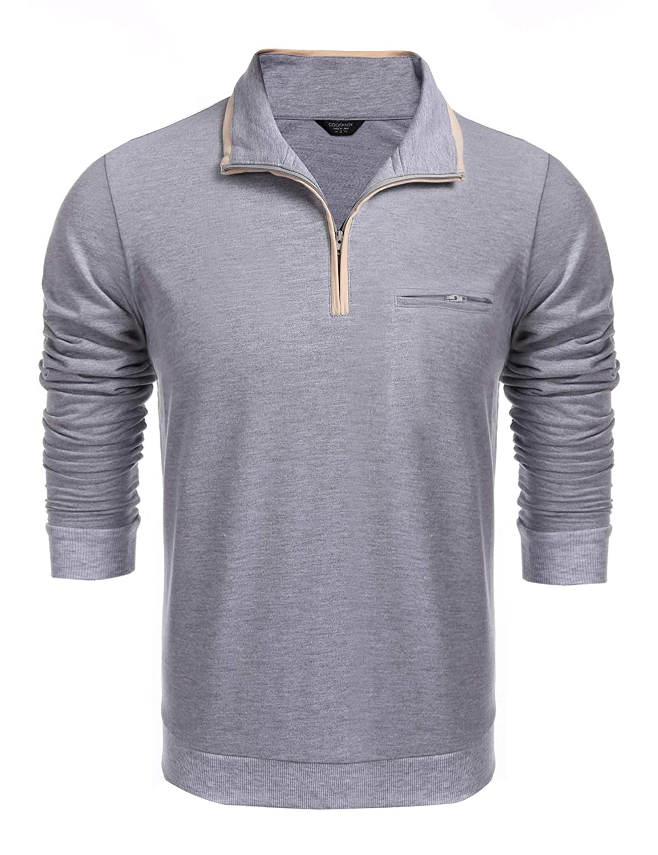 COOFANDY Men's Relaxed Fit Quarter Zip Mock-Neck Polo Collar Pullover Sweatshirt