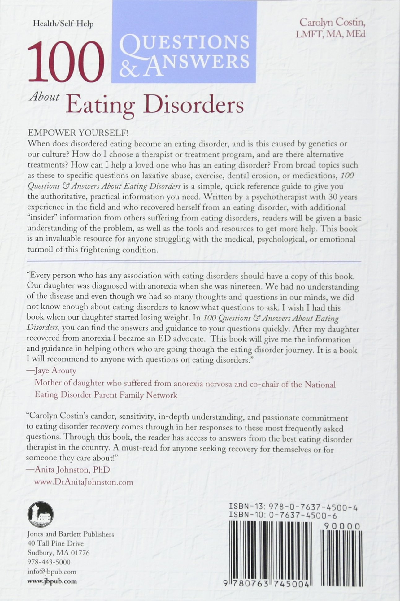 100 Questions & Answers About Eating Disorders: Carolyn Costin:  9780763745004: Books - Amazon.ca