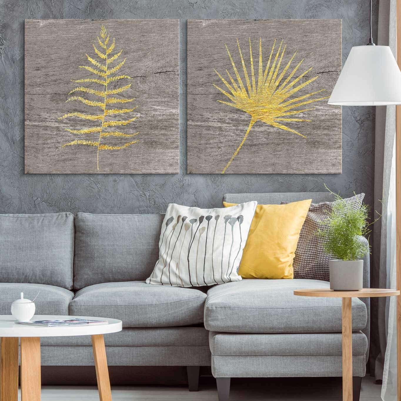 """wall26 - 2 Panel Square Canvas Wall Art - Yellow Ferns Wood Effect Canvas - Giclee Print Gallery Wrap Modern Home Decor Ready to Hang - 24""""x24"""" x 2 Panels"""