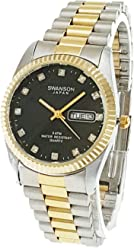 Swanson Mens Two-tone Day-Date Watch Black Stone Dial with Travel Case