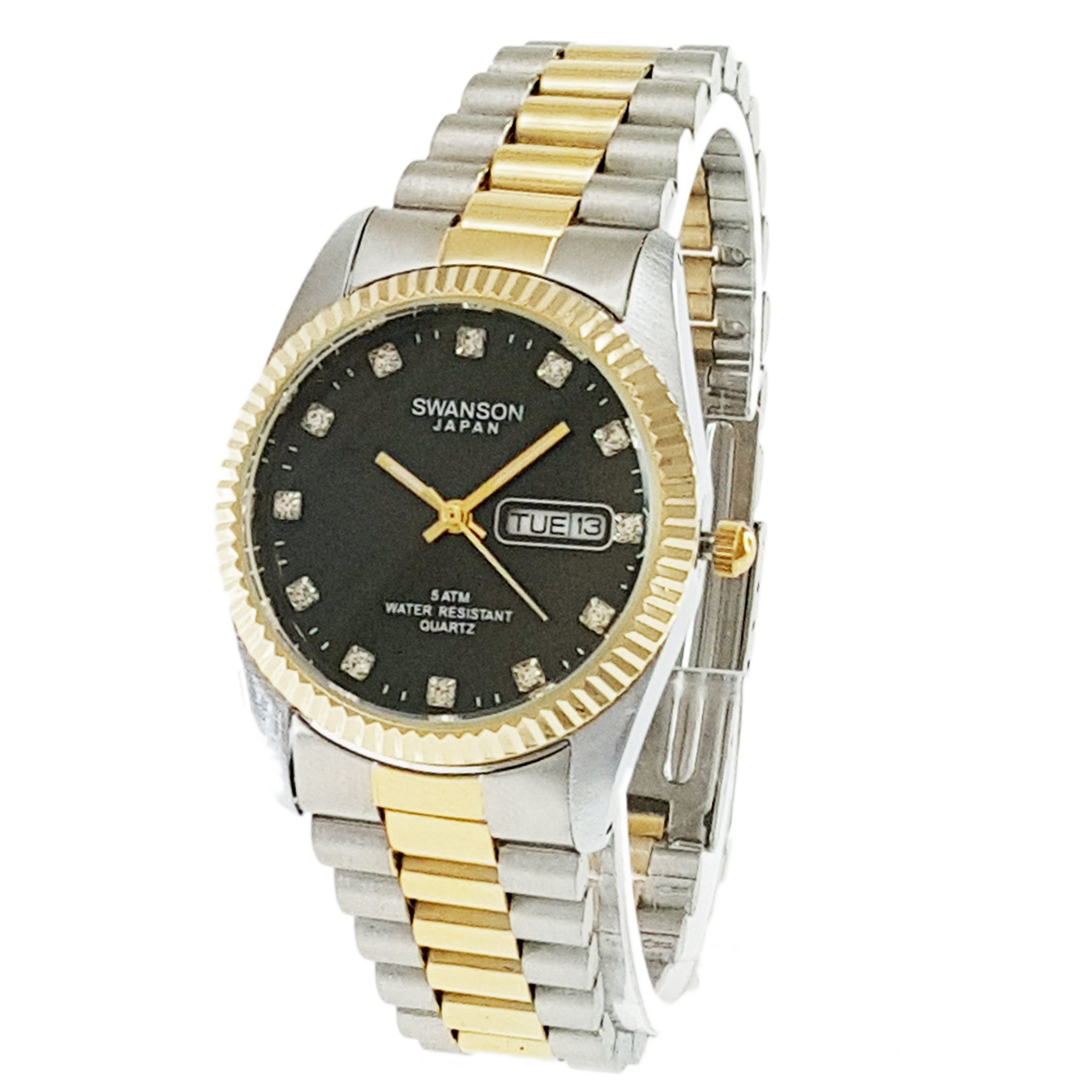 Swanson Men's Two-tone Day-Date Watch Black Stone Dial with Travel Case