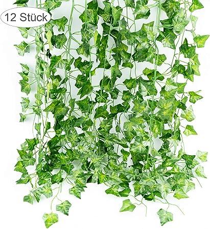 OFNMY Lierre Artificielle Plante Verte Guirlande 12pcs*2m Vigne Naturel Suspendu Guirlande de Lierre Fausse D/écor pour C/él/ébration F/ête Mariage Balcon Cuisine Jardin Bureau