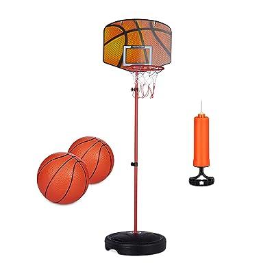 Relaxdays - Canasta de Baloncesto para niños, befüllbarer Soporte, 2 x Baloncesto, Bomba, Altura Regulable, 133 cm, Estándar: Deportes y aire libre